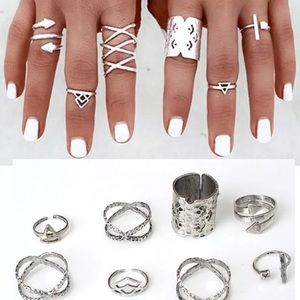 Jewelry - 8pcs Antique Silver Knuckle Midi Rings